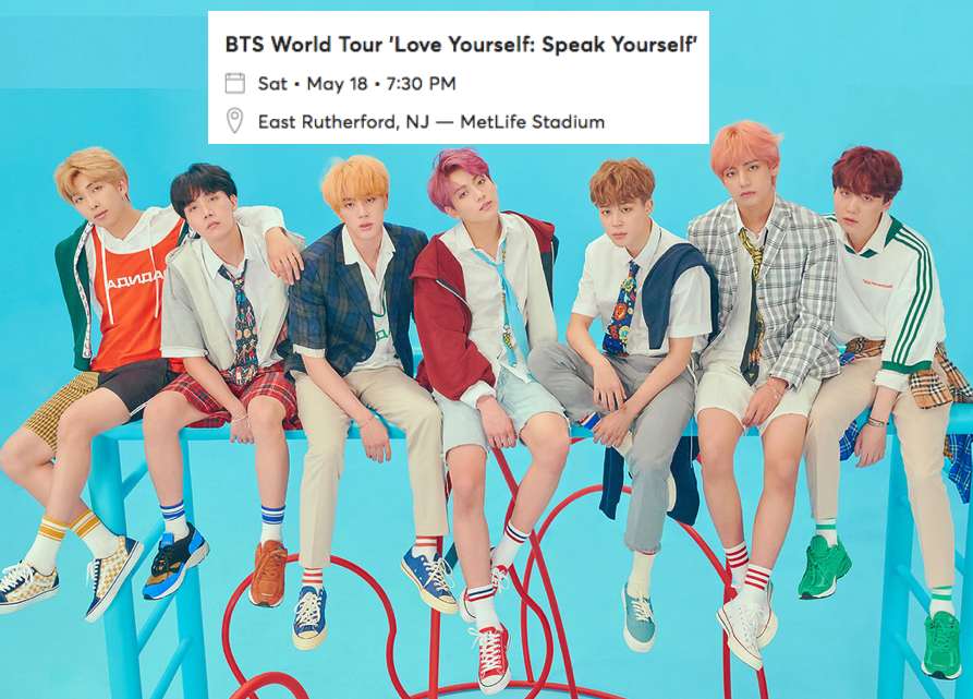 Ticket For Sale: BTS World Tour, Love Yourself: Speak Yourself, East Rutherford, New Jersey, Saturday, 18 May 2019 @7:30 PM
