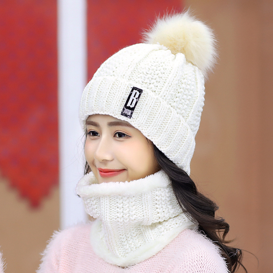 Brand Winter knitted Beanies Hats Women Thick Warm Beanie Skullies Hat Female knit Letter Bonnet Beanie Caps Outdoor Riding Sets