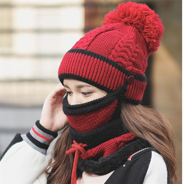 Set 3 Hats Women Winter Beanies Velvet Thick Bib Mask Ear Protector Skullies Beanie Hat Riding Hat Female Warm knitted Wool Cap