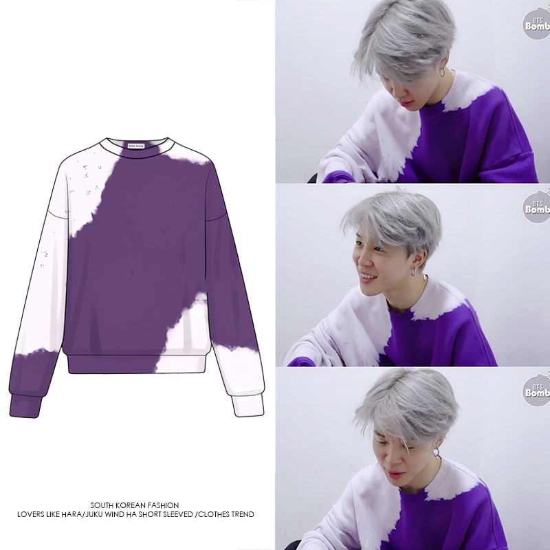 kpop Bangtan Boys Hoodies New Jimin Same Style Purple Sweatshirt Spring Fashion Korean Coat Harajuku k-pop Streetwear