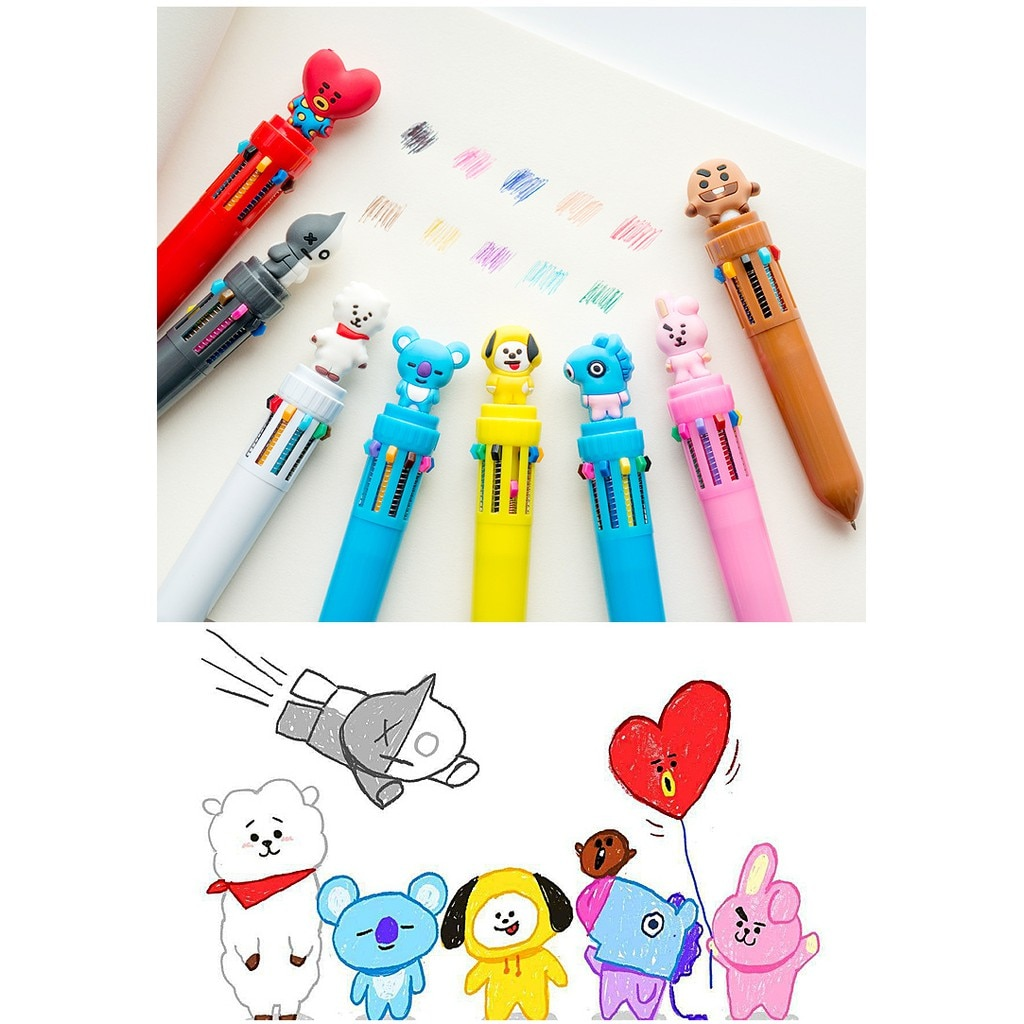 10 Colors Cute Multicolor Ballpoint Pen Kawaii Cartoon 0.7mm Colorful Pens Office School student friend stationery gift