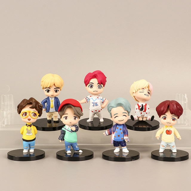 The latest BT21 bulletproof doll is hand-made BT21 doll cute decoration BT21 KPOP Creative Gift set 1 set and 7 sets of BT21